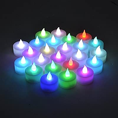 Domire 12 pcs Tealight Candle LED Color Changing Flame by Domire