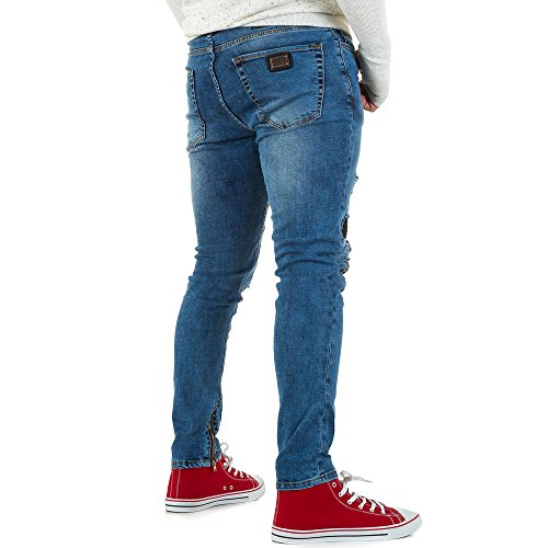 Destroyed Slim Fit Biker Jeans Für Herren bei Ital-Design Blau