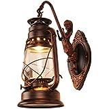 LQQGXL Balcón Luces Impermeables Retro Estadounidenses Apliques De Noche Nostalgia Viento Industrial Retro Creativa Lámpara De Queroseno Barra De E27 * 1,C