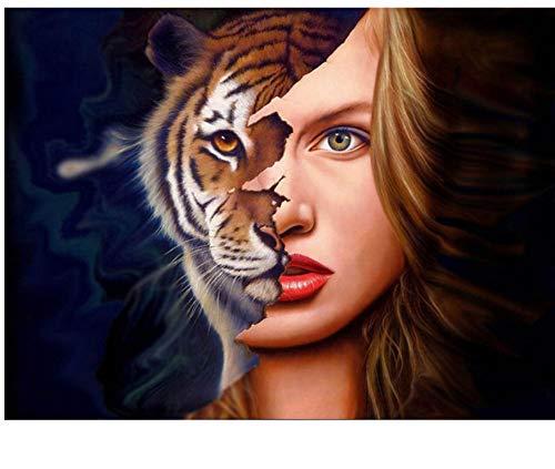 WACYDSD Malen Nach Zahlen DIY Halbes Gesicht Make-Up DIY Einzigartiges Geschenk Handgemaltes Ölgemälde Für Hauptwanddekor Kunstwerke Rahmenlos (Wolf Gesicht Malen)