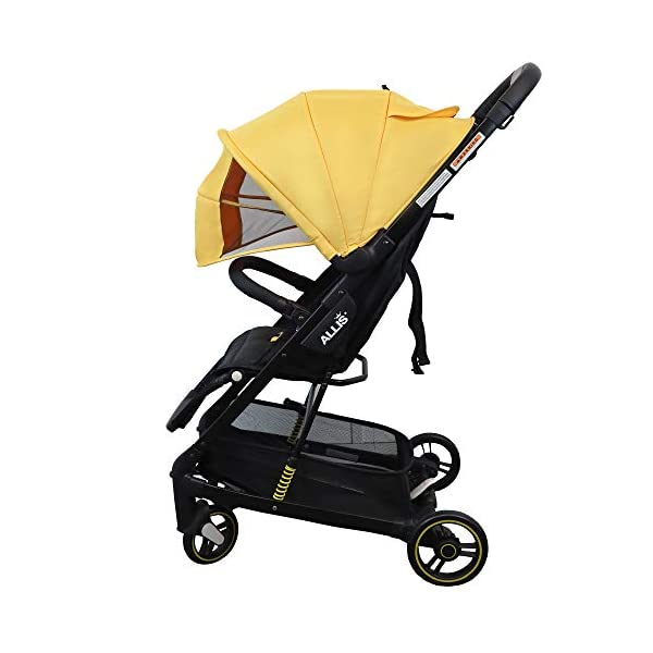 Allis Travel Stroller Baby Buggy Pram Lightweight Pushchair - Yellow Allis Baby Made according to British Standard EN1888, Fire Safety Regulations 1988. Lockable 360 swivel wheels, removable and suspension. Ultralight Design:Aluminium frame. Suitable from 6M - 4Ys ( upto 15Kg Approx) 1