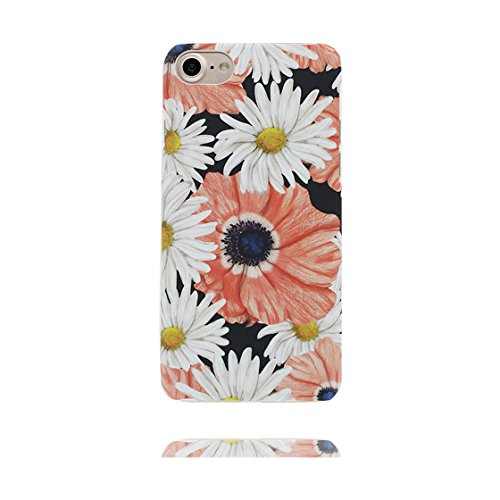 Custodia iPhone 7 Plus, iPhone 7 Plus copertura case in silicone TPU leggero sottile adatto Cover per iPhone 7 Plus 5.5 Inch- foglie di palma Fenicottero Margherite