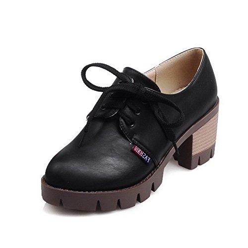 AllhqFashion Femme Matière Souple Rond à Talon Correct Lacet Couleur Unie Chaussures Légeres Noir