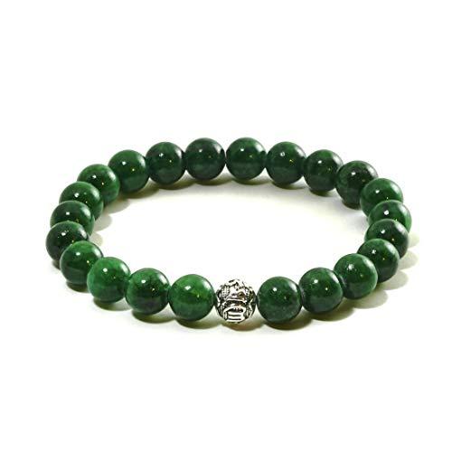 Echtes Jade Armband - Glücksbringer mit Naturstein und hochwertiger Silberperle aus 925 Sterling Silber - Silber Männer Armband Für Ring Und