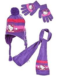 7e71c697ece2 Hello kitty Echarpe, bonnet péruvien et gants enfant fille Rose et Violet  de 3 à