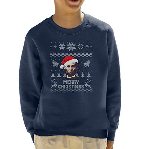 Cloud City 7 Merry Christmas Abe Lincoln Knit Pattern Kid's Sweatshirt