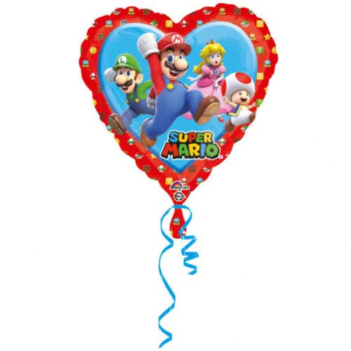 Ballonim Super Mario Herz ca. 45cm Luftballons Folienballon Party Dekoration Geburtstag