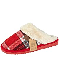 de2f0677b89e Jo Joe Ladies Tartan Cable Knit Fair Isles Knitted Faux Fur Trim Slip On  Warm Mules Slippers