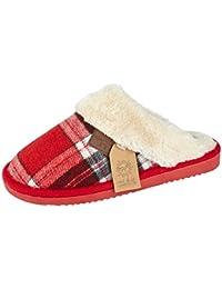 59598b62169 Jo Joe Ladies Tartan Cable Knit Fair Isles Knitted Faux Fur Trim Slip On  Warm Mules Slippers