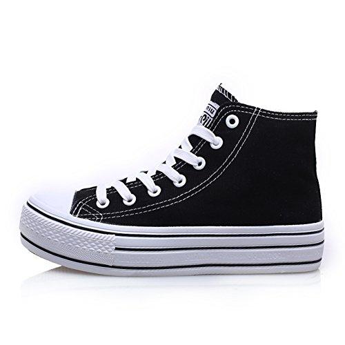Chaussures en toile/Chaussures femme/Chaussures plateforme fond épais/Chaussures de Conseil/Lacets sneakers haut hauts/escoge los zapatos/Chaussures respirants D