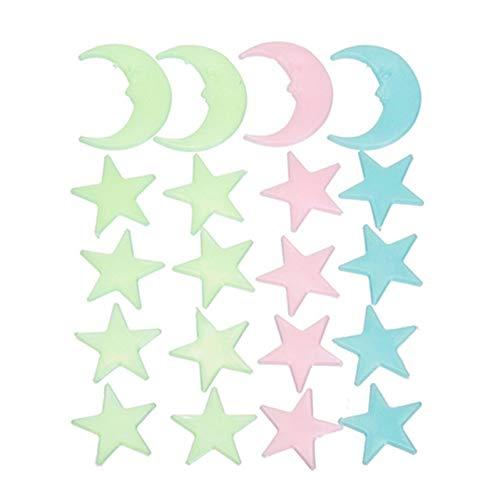 LELTWS Wandaufkleber 20 Pcs Luminous Glow In The Dark Sterne Mond Aufkleber Party Home Decor Wand Aufkleber 3D Für Kinder Baby Zimmer Schlafzimmer Decke (Glow In The Dark Party Decor)