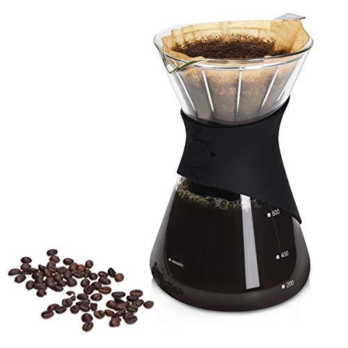 Navaris Pour Over Kaffeebereiter aus Borosilikatglas - Kaffeebrüher Kaffeekanne Kaffeezubereiter für 700 ml - Kaffeemaschine für Filter Kaffee