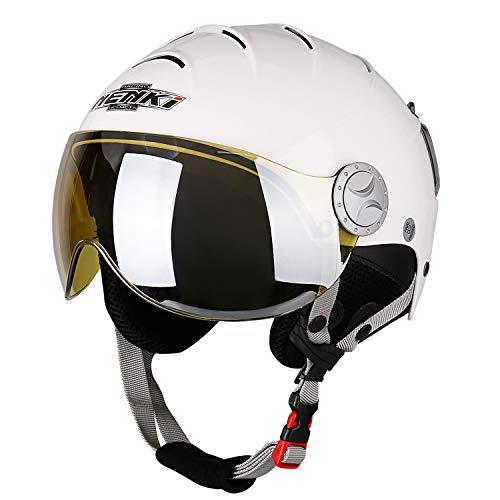 NENKI Helme NK-2012 Skihelm mit Visier für Damen und Herren zum Skifahren und Schneemobilfahren (Weißes, Gelber Visier, M)