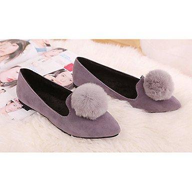 Confortevole ed elegante piatto scarpe donna appartamenti rientrano Comfort Felpa casual tacco piatto pom-pom nero / rosso / grigio altri gray