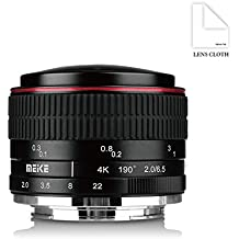 Meike Lente de ojo de pez circular MK 6,5mm f/2.0para cámaras Sony E-Mount A7II A7SII A7RII A6500A6300A6000A9etc. con gamuza de limpieza Adison Tek