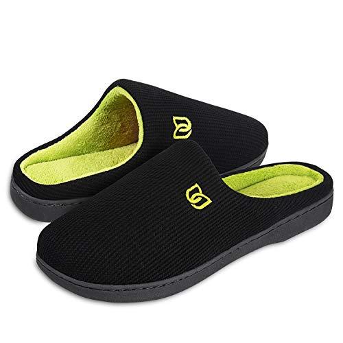 Hmiya pantofole da casa per donna uomo inverno peluche memory foam ciabatte da casa - ultra-leggero, antiscivolo, caldo, confortevole(nero/verde 46 47)