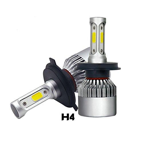 2x H4 Luces Delanteras del Coche Kit, MODOCA Auto Car 36Wx2 8000LM C6 H7 Kit de faros LED Bombillas, 12V/24V Sustitución de Halógenos o Bombillas HID (H4)