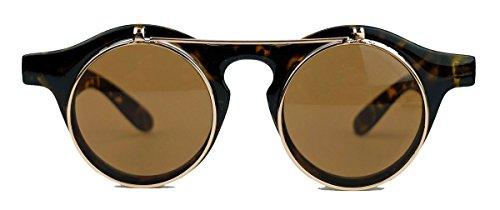 50er 60er Jahre Retro Sonnenbrille klappbare Gläser rund Vintage Steampunk Flip up FARBWAHL FL97 (Hornbrille)