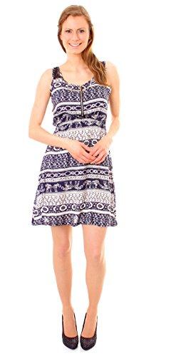 Easy Young Fashion Damen Kleid Sommer Trägerkleid mit Spitze India - indisch  gemustert marine Mod.