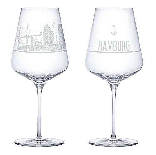 Weinglas 2er Set mit der Hamburg Skyline - Das Exklusive Weinglas mit Stadtgeschichte. (Kristallglas - Made in Germany) Das Perfekte Geschenk für Weinliebhaber.