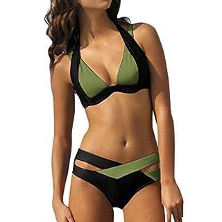 2018 Übergröße LSAltd Frauen Patchwork Bikini Set Neckholder Push Up BH Bademode Damen Sommer Beachwear Top + Pants Badeanzüge