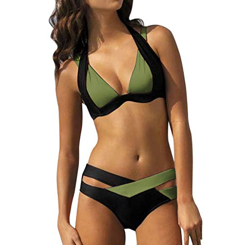 2018 Übergröße LSAltd Frauen Patchwork Bikini Set Neckholder Push Up BH Bademode Damen Sommer Beachwear Top + Pants Badeanzüge -