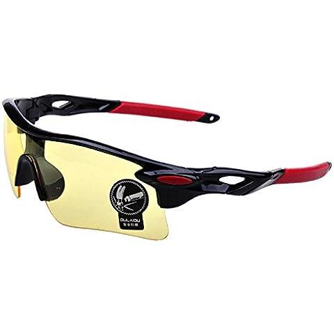 Moda deportes al aire libre Ciclismo para bicicleta Pesca Gafas Gafas de conducción gafas de sol (amarillo +