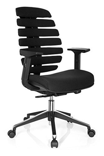 hjh OFFICE 714500 Profi Bürostuhl ERGO LINE II Stoff Schwarz ergonomischer Drehstuhl, inkl. Lordosenstütze, Armlehnen höhenverstellbar