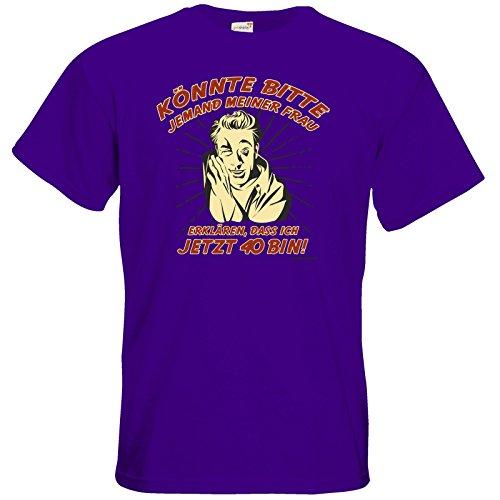 getshirts - RAHMENLOS® Geschenke - T-Shirt - Bitte meiner Frau erklaeren 40 Purple
