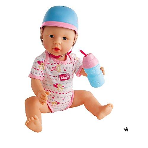 #0618 Fahrradhelm für Puppen in blau, rosa inklusive Trinkflasche zum Befüllen • New Born Baby Helm Spielpuppe Spielzeug Zubehör