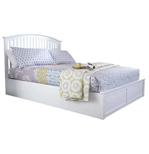 Right Deals UK Madrid 5ft King Size Holz Bett mit Bettkasten-massiv weiß (King-size-holz-bett)