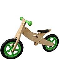 12 Zoll Holz-Lernlaufrad Greenhorn mit Polstersattel grün / natur