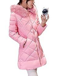 SaiDeng Chaqueta Abrigo Térmico Parka Con Capucha De Invierno Para Mujer Pink 2XL