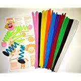 100 x ASSORTED CHUNKY COLOURED CHENILLE PIPE CLEANERS
