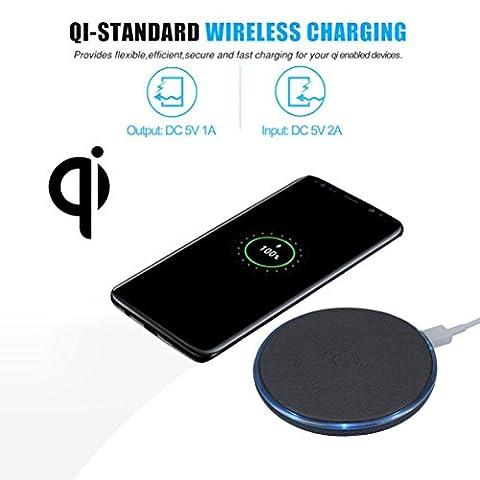 Wireless 3-Coils Qi Fast Wireless Ladegerät Ladestation Dock für Samsung Galaxy S8 (Schwarz)