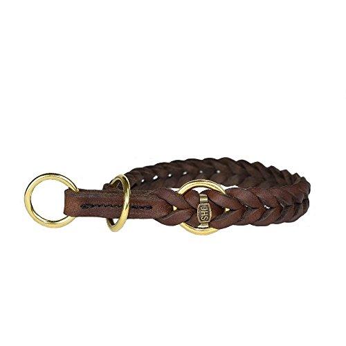 JHS Fettleder geflochten - Hunde Halsband Führleine Schauleine Dressurhalsung (50 cm, Halsband mit Zugstopp)