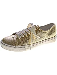 5786013ee0cd Markenlos Damen Sneakers Glanz Halb Schuhe Schnürer Reptil Print Sneaker Gr.  36-41