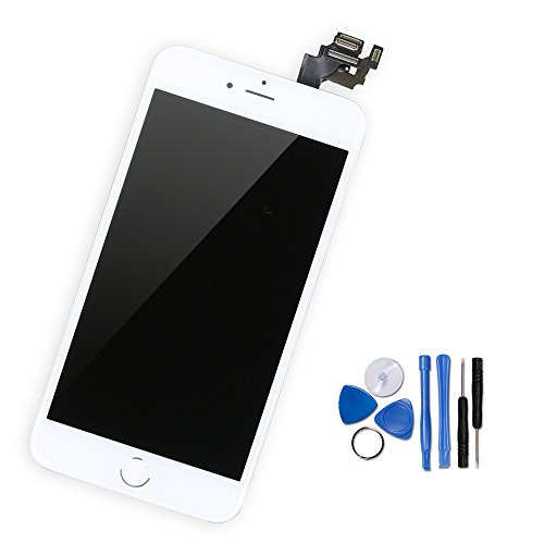 Yodoit iPhone 6 Plus LCD Touchscreen Digitizer Front Komplettes Glas Display Retina Reparatur Ersatz Bildschirm Weiß mit Home Button, Hörmuschel,Frontkamera& Näherungssensor+Werkzeugset (5.5 - Plus Lcd 6 Iphone Austausch