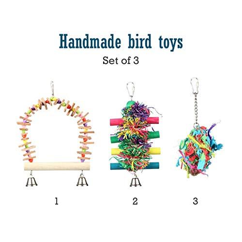 (Pet Magasin - Hand-gefertigtes Vogelspielzeug Pure & Natürliche & Bunte & Interaktive Sitzstange, Stand & Schaukel, gegen Langeweile, Knabber-Spielzeug für Vögel Aller Arten)