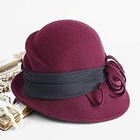 Sombrero - Europa y América Imitación de Lana Fina Cara Sombrero Otoño e Invierno Curly British Ladies Ladies Hat (4 elección de Color) (Color : Burgundy)