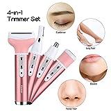 Kemei 4-in-1 Epilator - Naso per i capelli del naso del sopracciglio, rasoio di rimozione dei capelli della femmina, naso