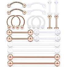 AceFun 20 Piezas Acero Inoxidable Industrial Barbell Cartílago Labio Pendientes del Perno Hoop Tragus Helix Oreja