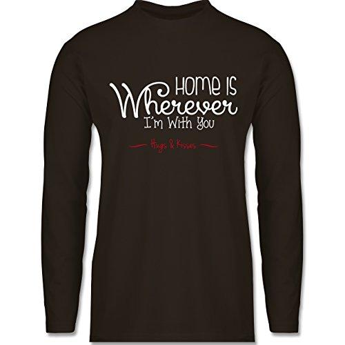 Shirtracer Statement Shirts - Home is Wherever I'm With You Hugs & Kisses - Herren Langarmshirt Braun