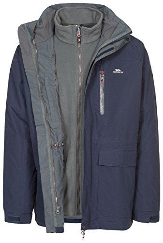 Trespass Edgewater II, Navy, XXL, Wasserdichte 3-in-1 Jacke mit Kapuze, herausnehmbare Innenjacke aus Fleece für Herren, XX-Large / 2XL / 2X-Large, Blau -