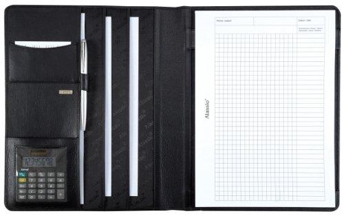 Alassio - 43006-1 - Cartellina documenti A4 CREMONA I con Calcolatrice tascabile, Pelle nappa, nero