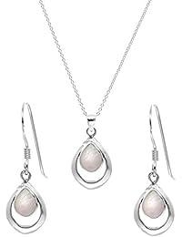 Silverly Set Mujeres Collar Y Pendientes En Plata De Ley .925 Nácar Concha Colgante Gota, 46 cm