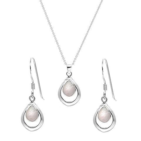 Silverly Women's .925 Sterling Silver Mother Of Pearl Teardrop Dangle