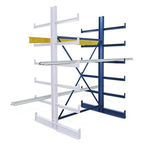 Kragarm-Anbauregal, doppelseitig, BxTxH 1250x1240x (1000)x2000 mm, 1 Ständer, 10 Kragarme, 12 Lagereb -