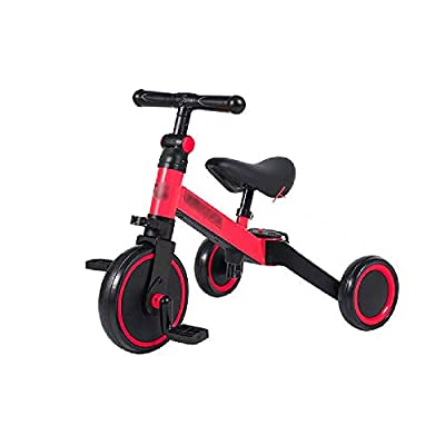 Jiamuxiangsi Bicycle Children's Tricycle Baby Pedal Bicycle Three-in-one Balance Car Child Bicycle Collapsible Riding Children's Car 2-3-4 Year-old Slide Car Gift Bicycle Baby (Color : Red)