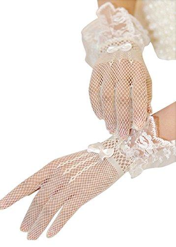 Stretch-spitzen Handgelenk Handschuhe (SwirlColor Damen Short Elegant Lace Stretch Fancy Handschuhe Fischnetz Holes Handgelenk lange Handschuhe für Hochzeitsfest-Kostüm)